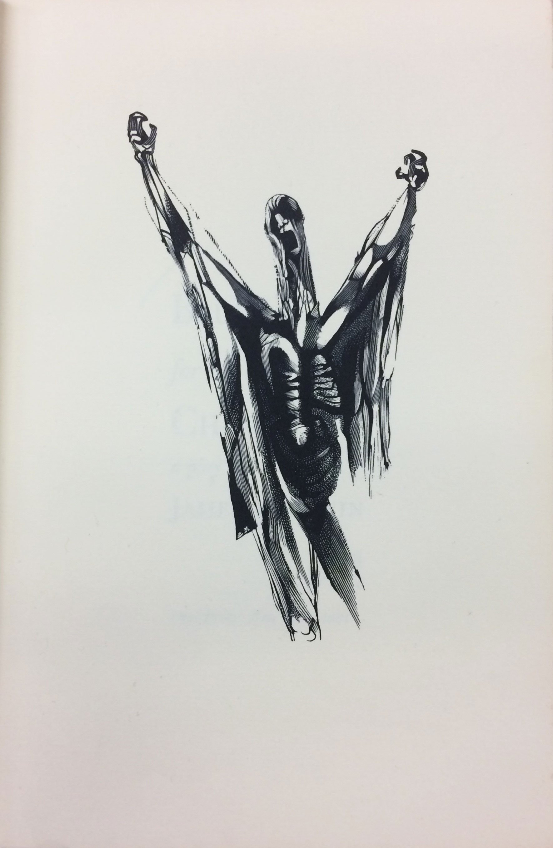A pen sketch of a man with his arms raised above his head, and his mouth agape, as if screaming.