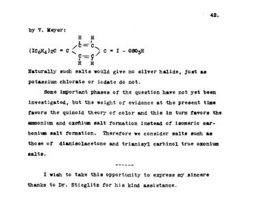 A typewritten page with a diagram of a molecule.