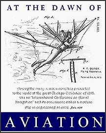 "Poster entitled ""At the Dawn of Aviation"" depicting a labeled diagram of artificial wings."