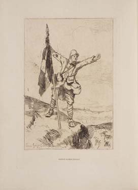 In a colorless pencil drawing, a soldier grasps a flag at the top of a little hill.