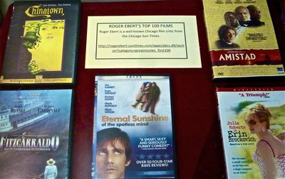 Photo of new D'Angelo Law Library exhibit - Ebert movies