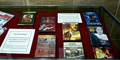 Photo of D'Angelo Law Library exhibit displaying LL.M. recommended foreign films