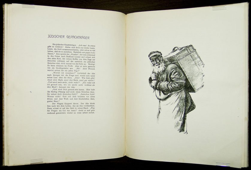 A book picture shows an old, hunched man with a pack on his back.