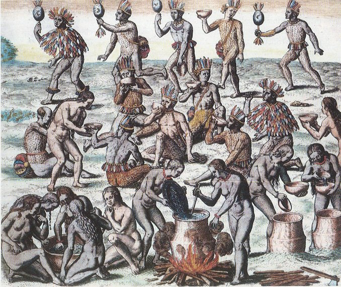 A group of mostly-naked men performing rituals and stirring various pots of liquid.
