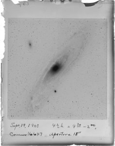 An astronomical image with handwriting beneath, dated Sept 19, 1903