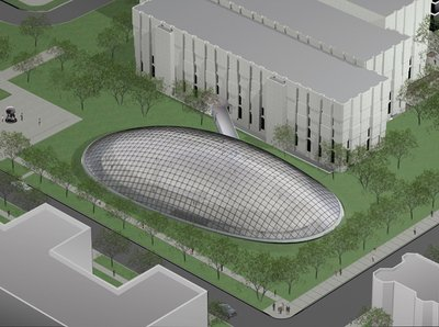 Aerial View Drawing of Mansueto Library