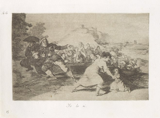 A pencil drawing shows soldiers, and a mother with a child, fleeing a row of advancing troops.