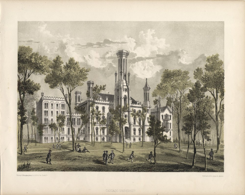 Lithograph of Old University of Chicago