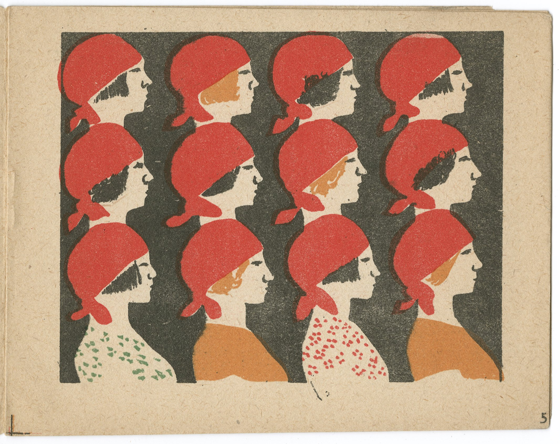 Women with red caps standing in rows.