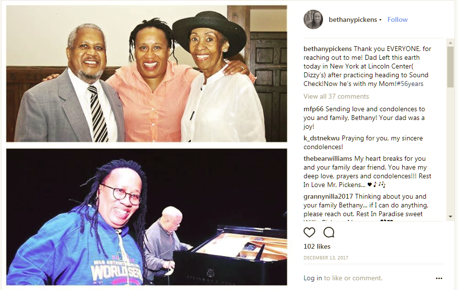 An Instagram post announcing the death of Willie Pickens, accompanied by photos of him performing and socializing.