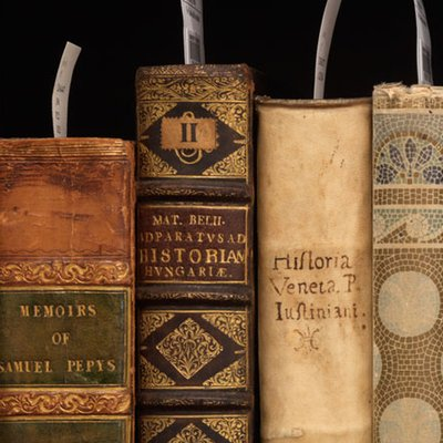 Rare books collected on a shelf