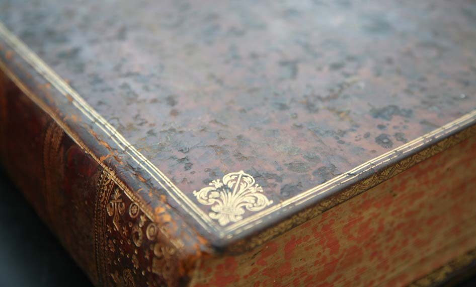 Close-up of corner of leather book, showing damage