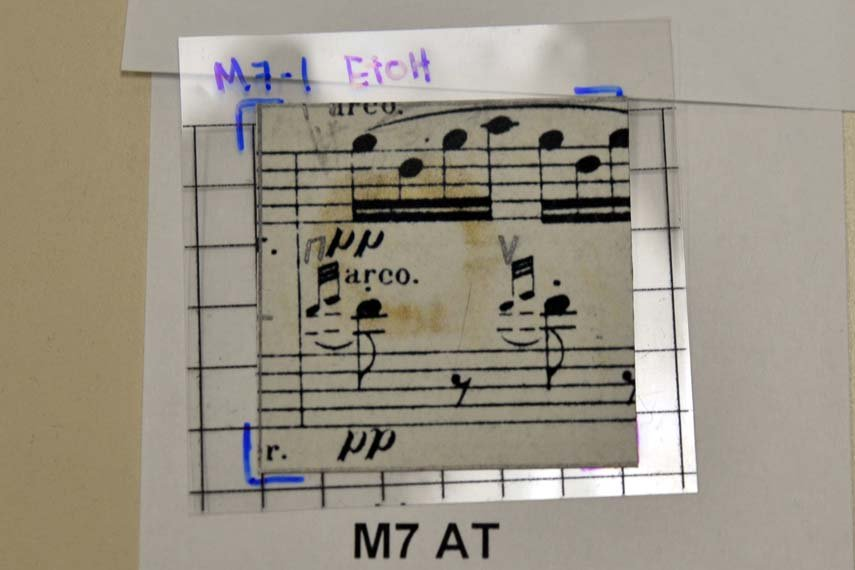 Small sample paper of musical score with brown circular mark on it