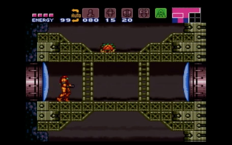 Screenshot of main character walking through a tunnel-like hallway