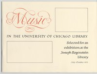 Music in the University of Chicago Library