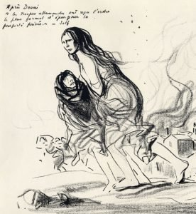 Drawing of woman and child fleeing a fire.