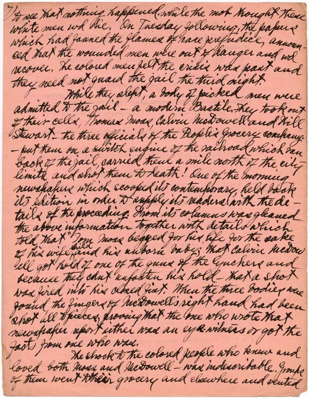 Handwritten pages from Ida B. Well's autobiography describing the lynching of her friend.