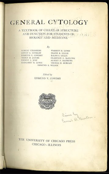 Title page of Cowdry's book