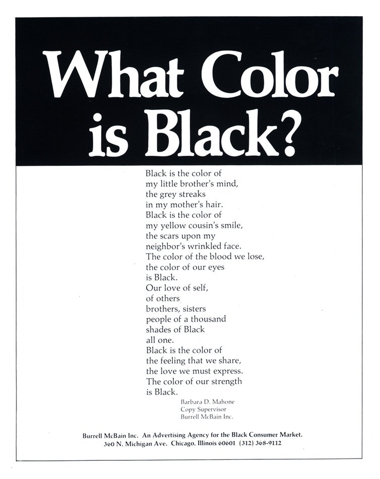 "Ad that asks ""What color is black?"""