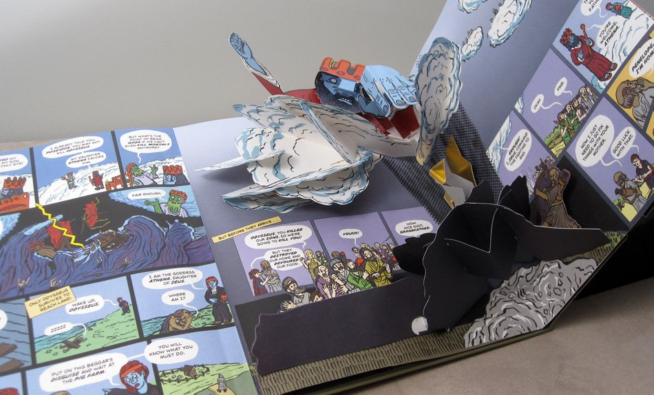 Page spread of a pop-up book edition of Iliad