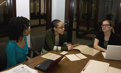 Students in the Special Collections Research Center