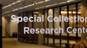 Special Collections Research Center front door. Cropped.