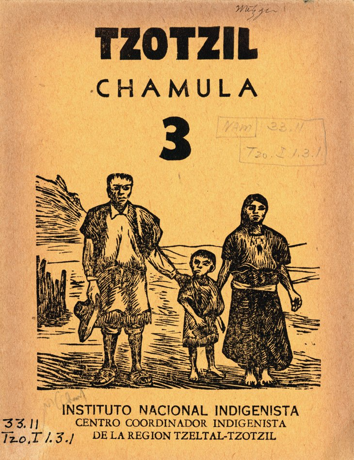 Cover with woodcut illustration of a native family standing outside.